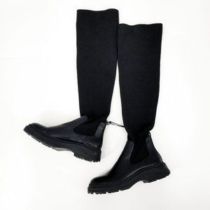 Zara Flat Boots Leather And Knit Pull On Knee High Sock Boots Size 9